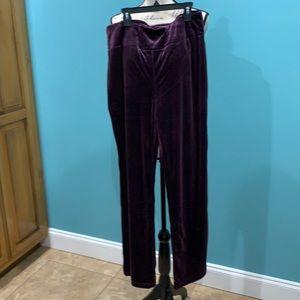 💕5/$15 Norm Thompson Velvet Plum High waist Pants